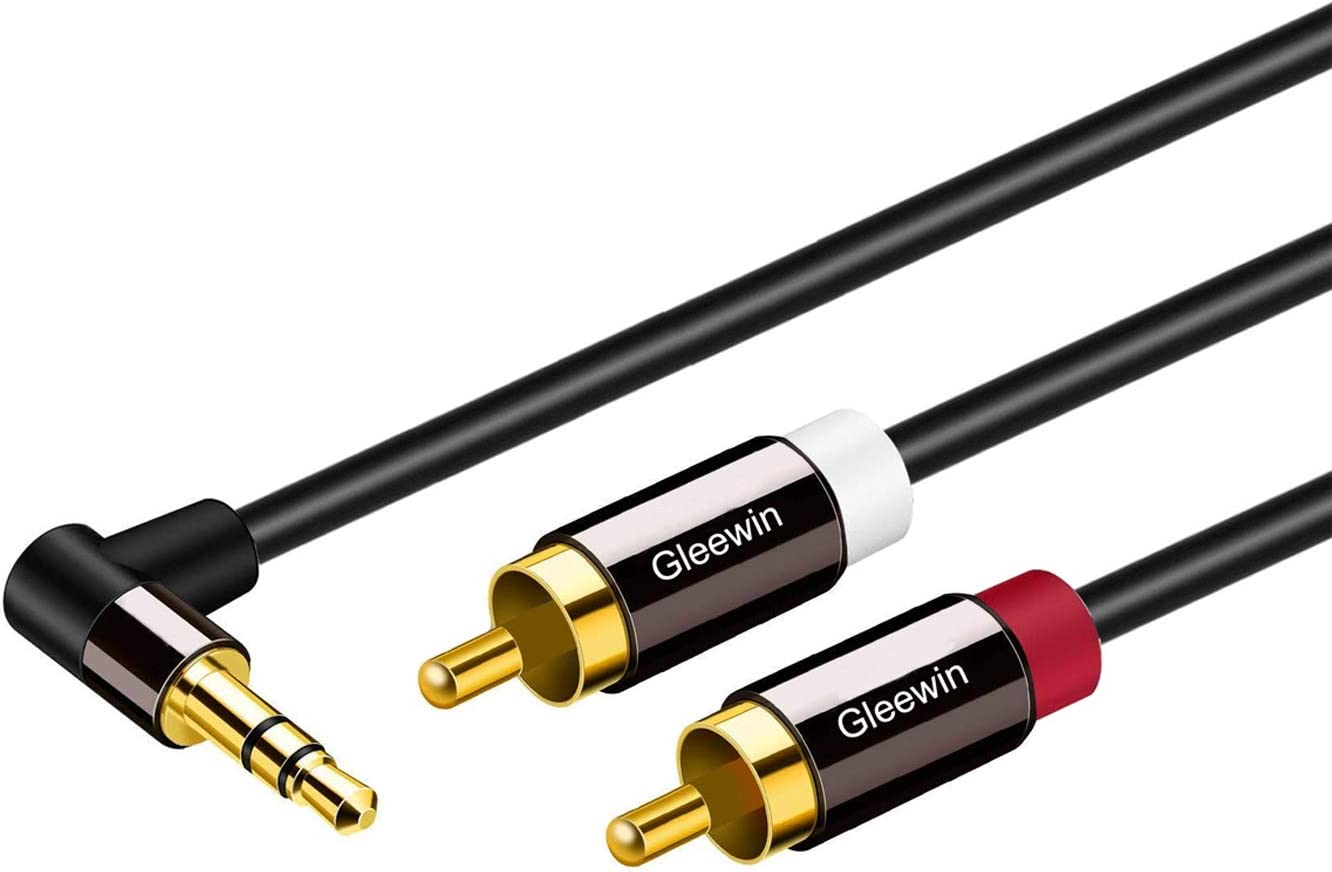 Y Splitter Design Stereo Audio RCA Male Cable,1m 3.5mm to RCA Audio Cable,Gleewin Angle 3.5mm Male to 2-Male RCA Cable