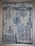 King Size Ikat Kantha Quilt Hand Block Print Bedspread Handmade Bedding Throw