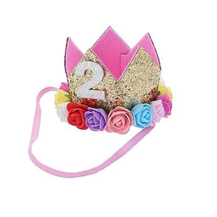 Frcolor Princesa Corona Cumpleaños para Bebé de Flor 2 Año ...