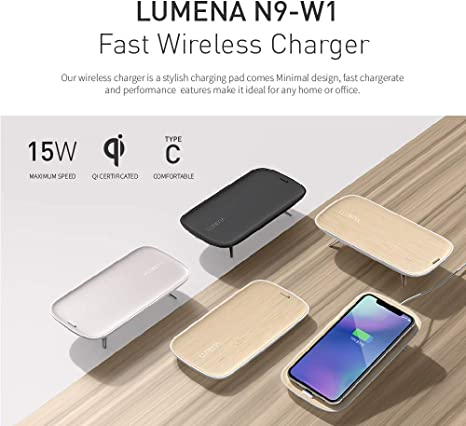 Lumena N9 W1 Fast Wireless Charger, 15W Qi Certified Phone Charging Pad for iOS & Android, iPhone XXsXR88 Plus, Samsung Galaxy