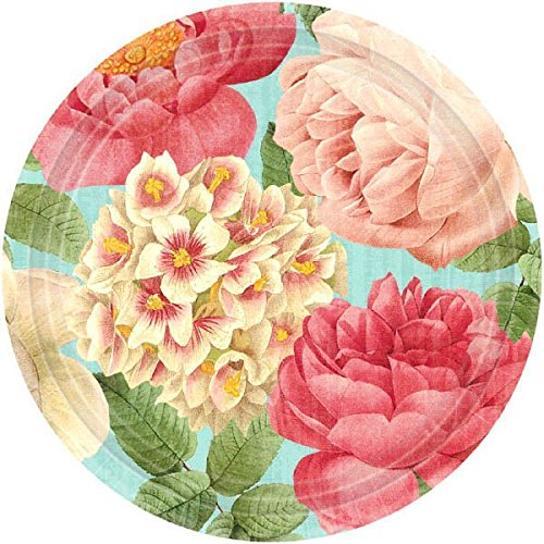 Blissful Blooms Dessert Paper Plates Floral Garden Party Disposable Tableware, 18 Pieces, Made from Paper, Multi-color, 7