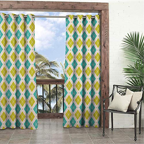 Garden Waterproof Curtains Christmas Blue and Green Shade Diagonal Square Pattern Dots and Lines Turquoise and Yellow Green Porch Grommet Bathroom Curtain 84 by 84 inch