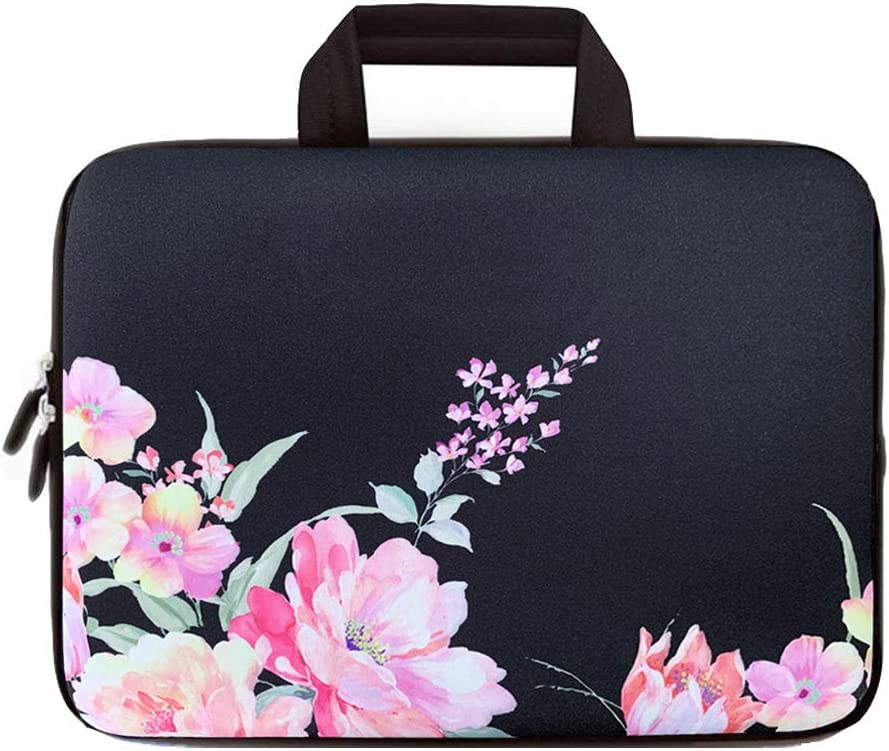 ICOLOR Pink Flowers 12 Inch Laptop Carrying Protective Case Neoprene Sleeve Briefcase Pouch Bag Tote with Handle Fits 11.6 12 12.1 12.2 Inch Netbook/Notebook (IHB12-019)