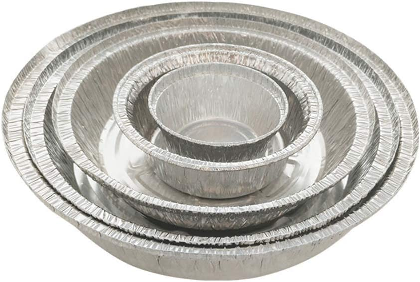 UPKOCH 100 x Disposable Round Aluminium Pans Cake Pans Tin Foil Bowls for Roasting Roasting Cooking Without Lid Silver 285 ml
