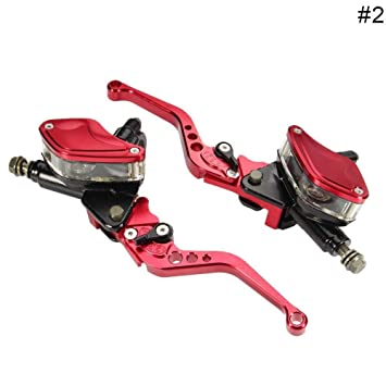 Red Universal Motorcycle Brake Clutch Master Cylinder Reservoir Levers Qiilu 1 Pair 7//8 22mm