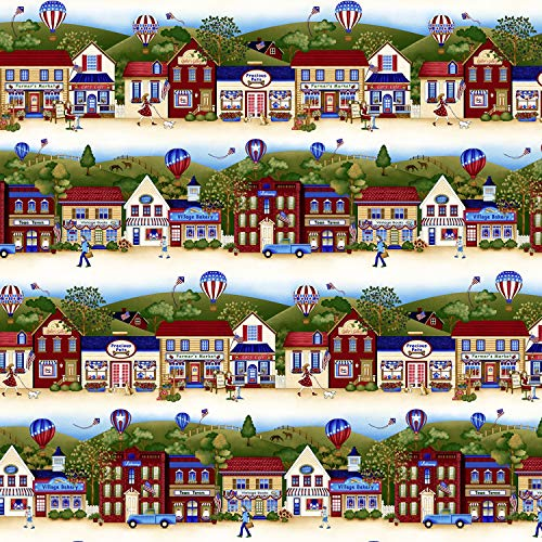 - Land That I Love Patriotic Border Stripe by Color Principle Collection from Henry Glass 100% Cotton Quilt Fabric 2259-33