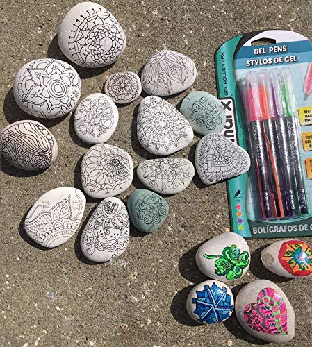 Set of 12 Adult Coloring Rocks ~ Zentangle ~ Relaxation from Kristmas in July