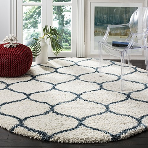 Safavieh Hudson Shag Collection SGH280T Ivory and Slate Blue Moroccan Ogee Plush Round Area Rug (7' Diameter) (Collection Blue Luxe)