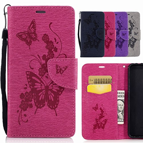 Bumper Case Is Cover Yiizy Flap Leather Stand Slot Pu Flip Premium Case Butterfly Cover Red Flower Slim Galaxy Skin Cover Design Samsung Shell Housing Shell Wallet Card Protective S8 Rose BwagBpq