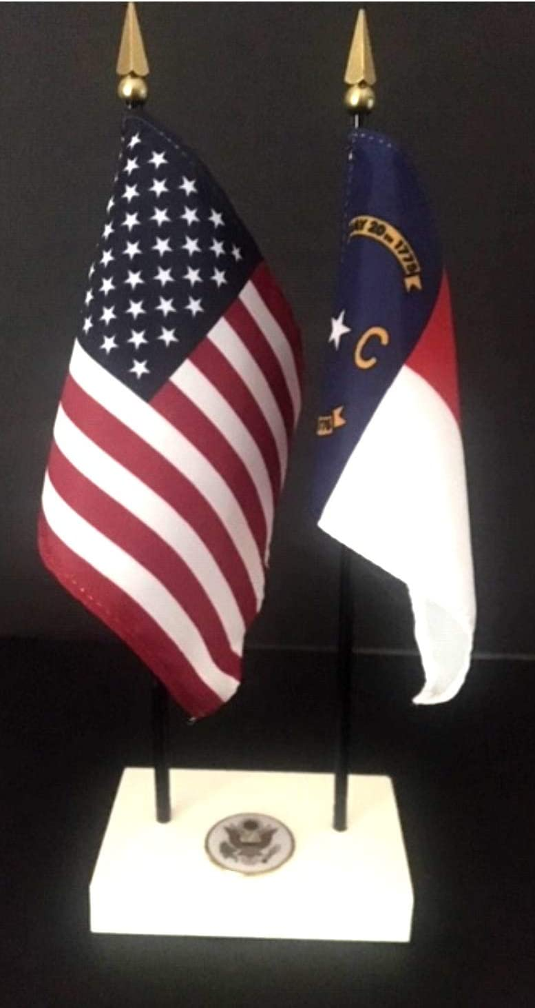 Made in The USA 1 American and 1 United States Marine Corps Rayon 4x6 Office Desk /& Little Table Flag Executive Set Includes a 2-Hole White ArcticSno Flag Base with a USA Great Seal and Two Flags