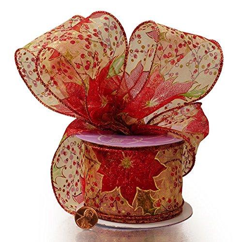 istmas Poinsettia Wrd Organza Ribbon ()
