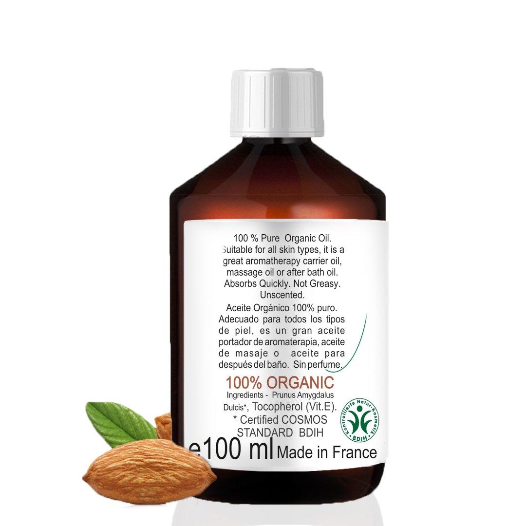 Aceite de Almendras Certificado Ecológico - Prensado en Frío - 100% Puro - 100 ml: Amazon.es: Salud y cuidado personal