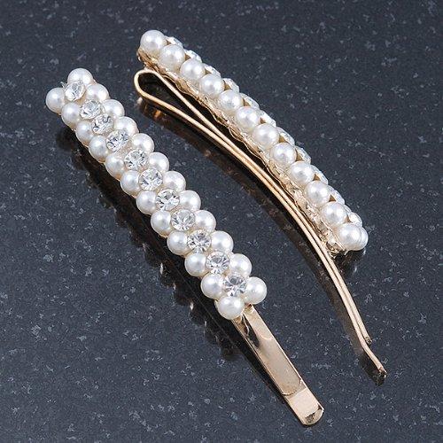 2 pinces à cheveux larges en plaqué or Mariage/Prom cristal, fausse perle