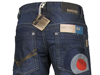 48b64523501 Lambretta Mens Jeans Denim Dark Blue Mod 'Target' Easy Fit: Amazon.co.uk:  Clothing