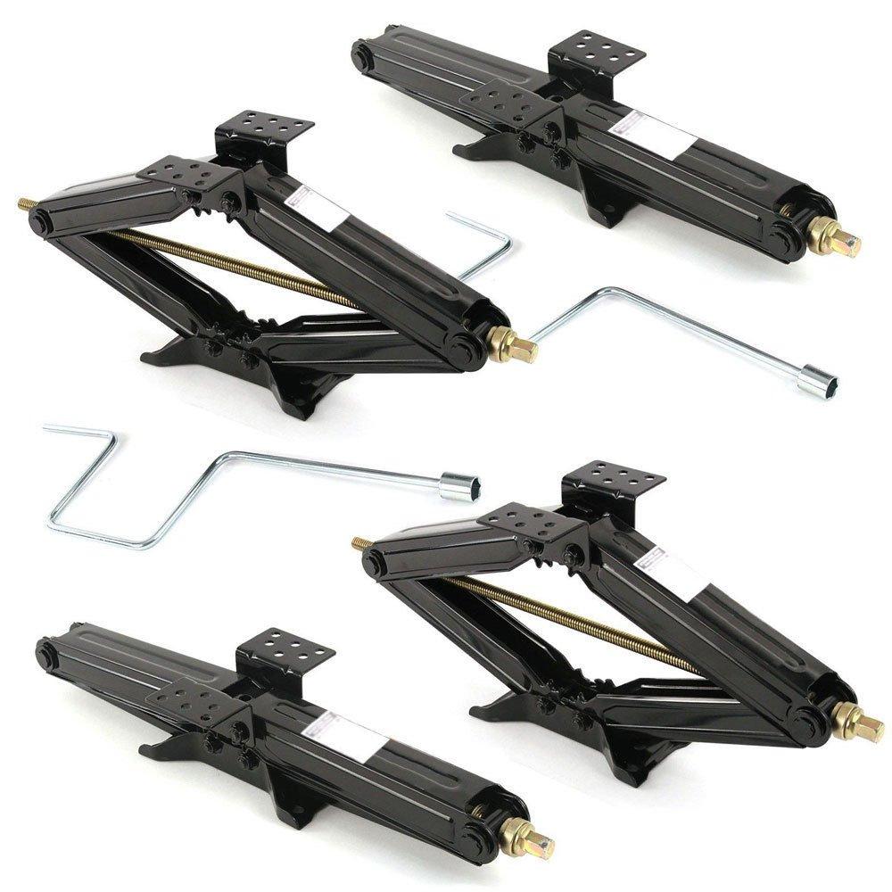4 Pcs RV 24'' 5000 Lb Leveling Scissor Jacks Trailer Parts Camper Accessories Stabilizer w/Handle
