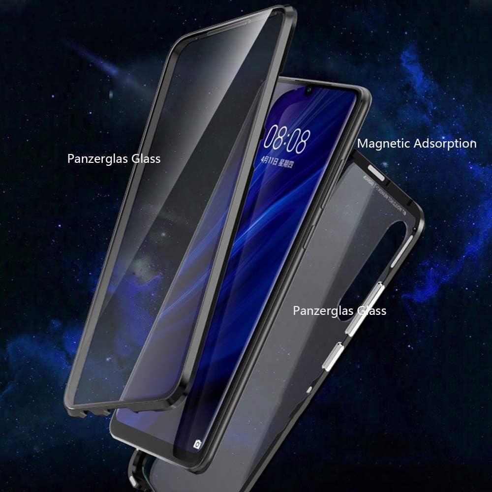 SEEYA Cover Aderenza Magnetica per Samsung Galaxy A70 Custodia Magnetico Trasparente Vetro Temperato Anteriore Posteriore Metallo Bumper Bordo Magneti Cover Hybrid Custodie per Samsung A70 Rosso