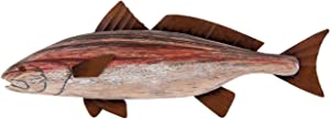Beachcombers Red Wood Fish with Metal Fins 14.25-inch Length Wall decor.