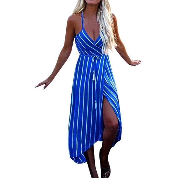 POLP Vestidos Largo ◉ω◉ Rayas Vestidos Mujer Verano Elegantes Tallas Grandes Vestidos,Fiesta