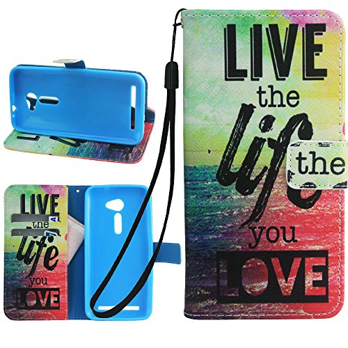 ZenFone 2E Case, ASUS ZenFone 2E Wallet Case, Harryshell(TM) Live Life Wallet Folio Leather Flip Case Cover with Credit Card Id Slot and Wrist Strap for ASUS ZenFone 2E 5.0 inch / ZE500CL (2e Id Card)