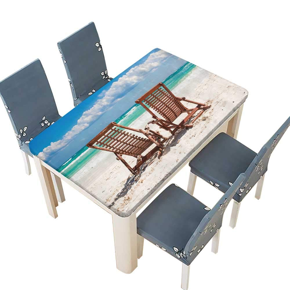 PINAFORE Indoor/Outdoor Polyester Tablecloth Beach Wooden Chairs for Vacations and Relax on Tropical White Sand Beach in Tulum,Mexico Wedding Birthday Baby Shower Party W65 x L104 INCH (Elastic Edge)