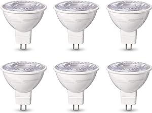 AmazonBasics 50W Equivalent, Daylight, Dimmable, 10,000 Hour Lifetime, MR16 (GU 5.3 Base) LED Light Bulb   6-Pack