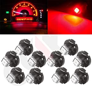 cciyu 10 Pack Red T4/T4.2 Neo Wedge 2835 SMD LED HVAC Climate Control Light Bulbs Replacement fit for 2002-2011 Toyota