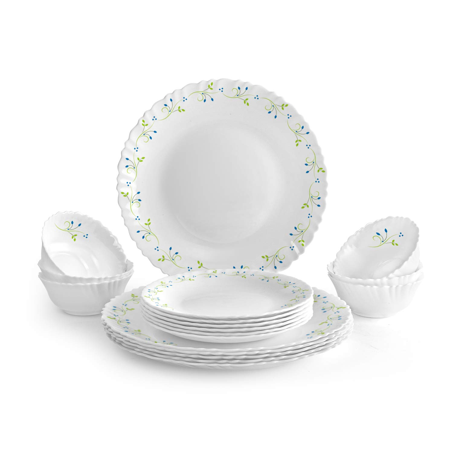 Cello Tropical Lagoon Opalware Dinner Set, 18-Pieces, White