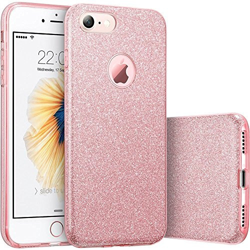 iPhone 7 Case [ Glitter Series ] Protective Case for Apple iPhone 7(4.7) Soft-Interior Scratch Protection with Vibrant Trendy Color (Pink4.7) by RongW Distric