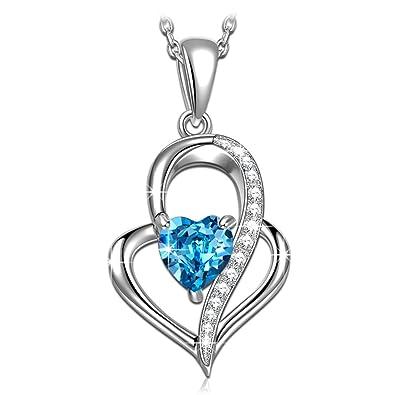 NINASUN Heart of The Ocean 925 Sterling Silver Crystals from Swarovski, Women Necklace Pendant, Allergen-free, 45+6cm Extender