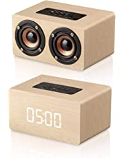 Bluetooth Speaker, MODAR Portable Wireless Speaker Dual Driver AUX Input Bluetooth 4.2, Micro SD Card Speaker Wooden Alarm Clock with FM Radio, Gift for Family