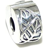 """925 Sterling Silver """"Leafs"""" Clip Lock Charm Bead"""
