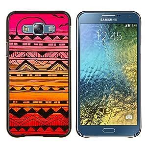 Aves Patrón dibujado mano de la pluma del arte- Metal de aluminio y de plástico duro Caja del teléfono - Negro - Samsung Galaxy E7 / SM-E700