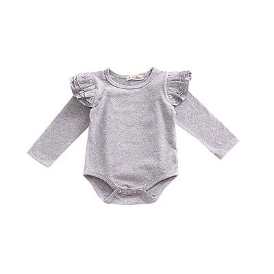 1e5dff859918 Kingte Infant Baby Boys Girls Long Sleeve Onesies Ruffle Sleeve Romper