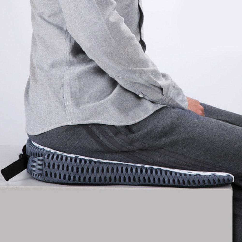 Cuscino con Zeppa Cuscino per Sedile Traspirante in Memory Foam Rilievo del Dolore Cuscino Antiscivolo con Cinturino Regolabile per Sedia da Ufficio Seggiolino Auto per Sedia A Rotelle