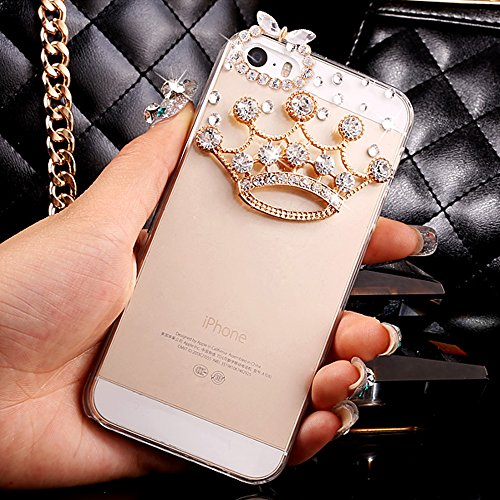 iPod Touch 5/6 Case,HAOTP(TM) 3D Handmade Bling Crystal with Shiny Sparkle Rhinestone Diamonds Design Clear Soft TPU Cover Case for iPod Touch 5/6 (Cr…