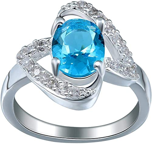 Jixin4you Elegant Plated 925 Silver Blue Ring Wedding Jewelry