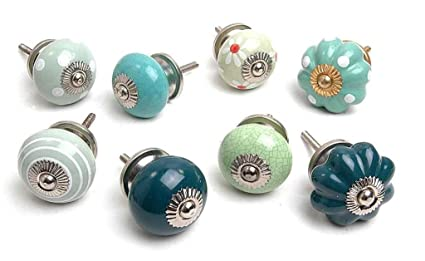 Zoyau0027s 14 Shabby Chic Ceramic Cupboard Knobs Kitchen Door Knob Drawers  Pulls K 130