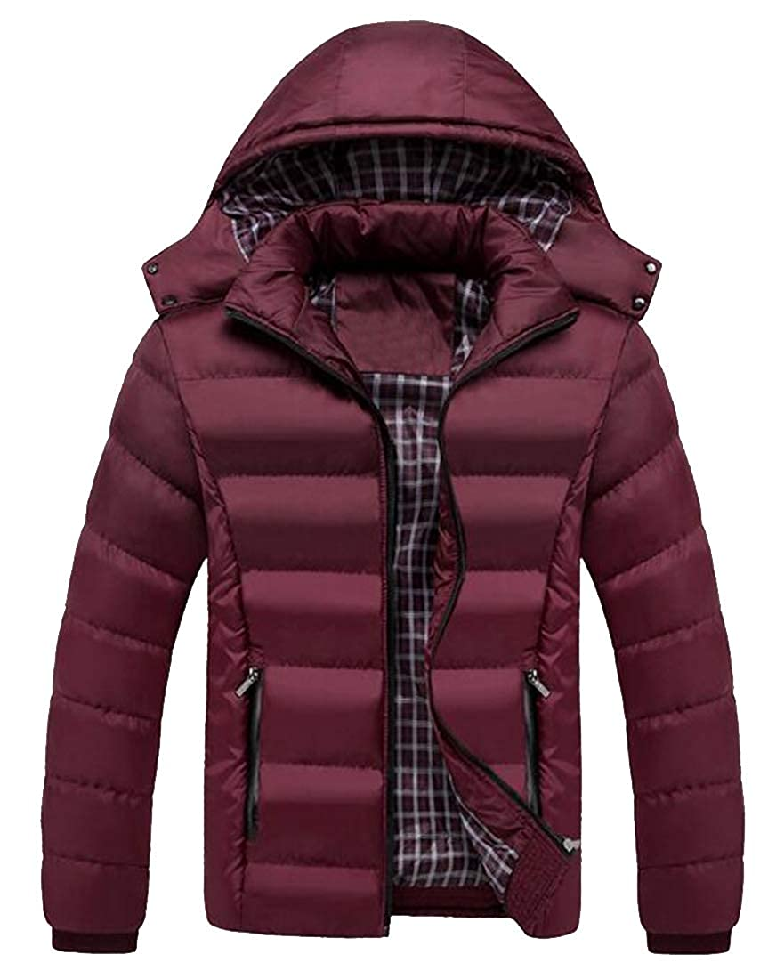 ARTFFEL Men Warm Fall /& Winter Cotton Thicken Hoodie Plus Size Down Puffer Coat Quilted Jacket Outerwear