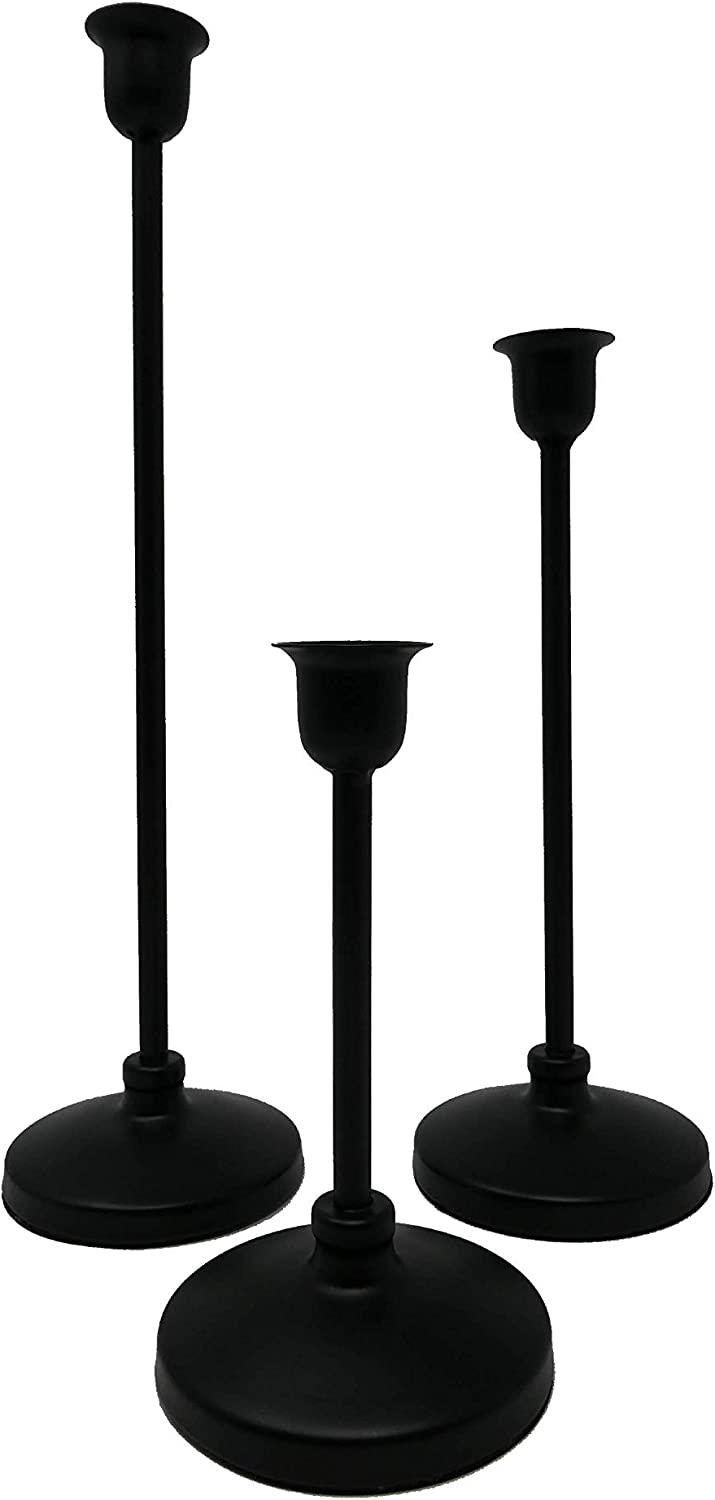 Laizy Daizy Matte Black Candlestick Holders, for Taper Candle use, Iron, for Wedding or Decoration, Fully Assembled Right Out of The Box, Durable and Heavy Duty (Set of 3)