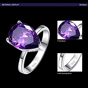 BONLAVIE Womens 8.8ct Teardrop Pear Cut Created Purple Amethyst Engagement Wedding Ring Sterling Silver