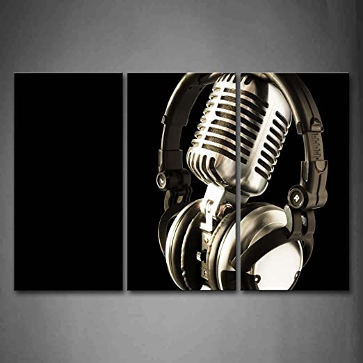 BLACK AND WHITE MICROPHONE FRAMED CANVAS PRINTS WALL ART PICTURES MUSIC POSTERS