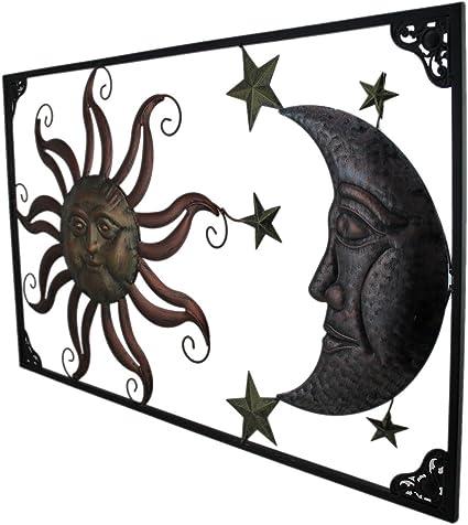 Zeckos Tri-Tone Celestial Sun Moon and Stars Indoor//Outdoor Metal Wall Art
