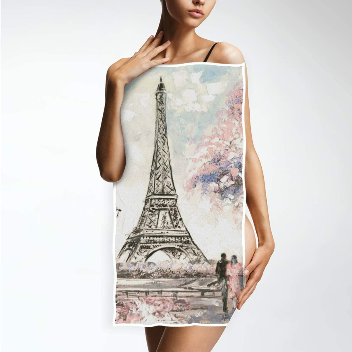 15 x 30 inches DOMIKING Guest Hand Towels for Bathroom Street View of Paris Landscape Decorative Fingertip Towels for Hotel Kitchen Spa Gym Yoga