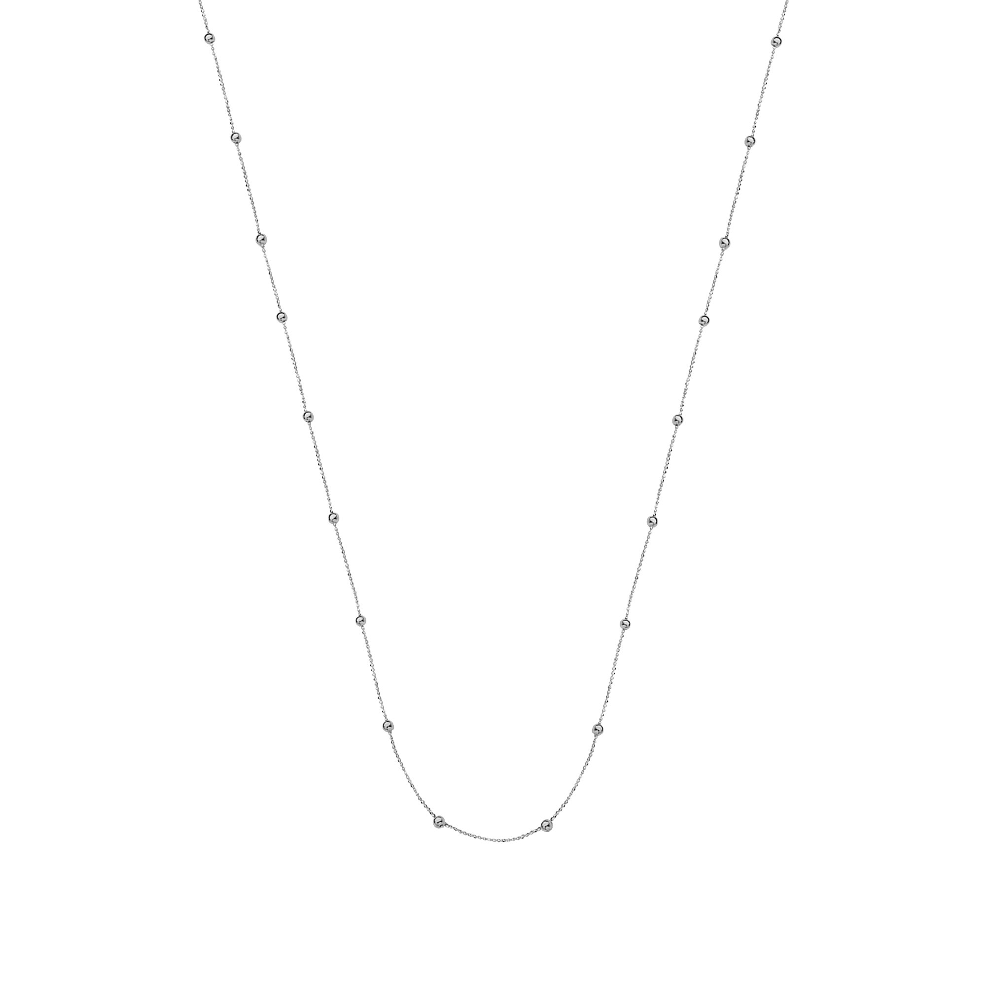 GOLD NECKLACE, 14KT GOLD MICRO BEAD WITH POL BEAD STATIONS NECKLACE