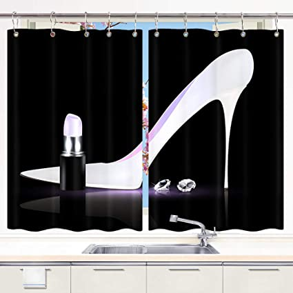DYNH Fashion Girl Kitchen Curtain, Elegant White High-Heeled Shoes Lipstick  Diamond Window Curtain Panels, Waterproof Kitchen Curtains Drapes 10PCS ...
