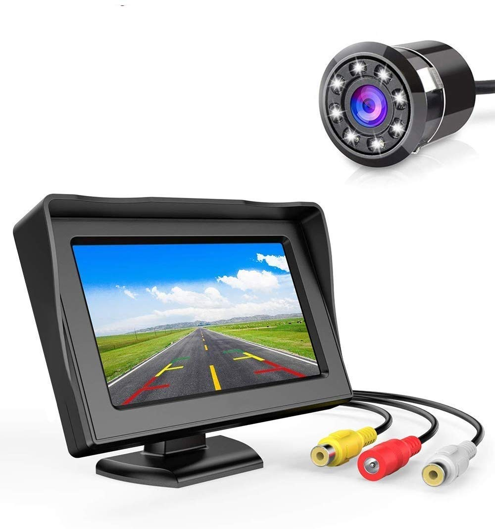 FABTEC 5 Inch Rearview Full HD Dashboard Screen with 8 LED Night-Vision Waterproof Reverse Parking Camera