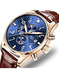 Men's Complications Analog Automatic Mechanical Watch Luminous Calendar Moon Phase 24-Hours Wrist Watches (Leather Band-Rose Gold Blue)