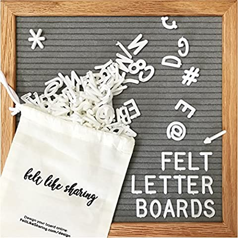 Gray Felt Letter Board 10x10 Inches. Changeable Letter Boards Include 300 White Plastic Letters & Oak - Message Board Letter