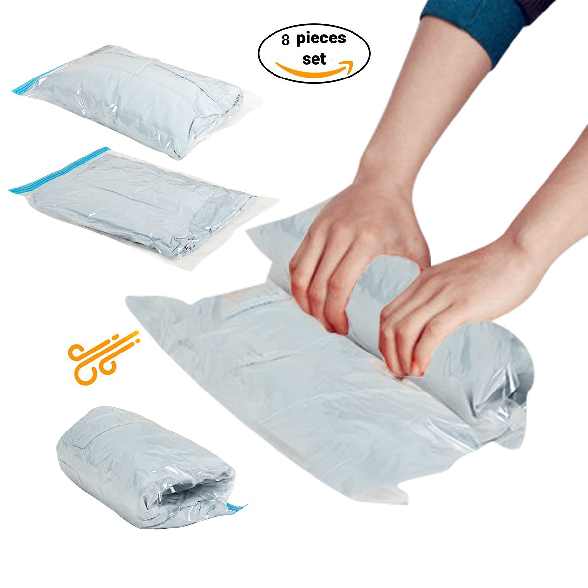 Stephenie Travel Storage Bags For Clothes Space Saver Packing Sacks Rolling Compression Bag For Luggage Air Space Roll Up Bags No Vacuum or Pump Needed (8pcs (2J+2L+2M+2S))