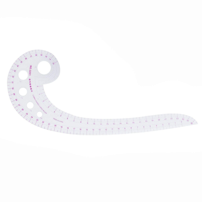 REFURBISHHOUSE 11.8'Lange Komma Geformter Kunststoff Transparent Franzoesisch Kurve Lineal